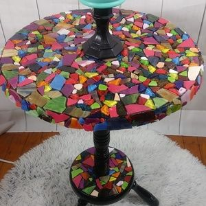 Upcycled Small Colorful 1st Handmade mosaic table